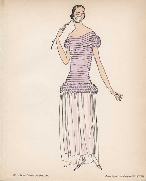 Finely pleated and gathered Young Lady's Fashion Sketch 18.