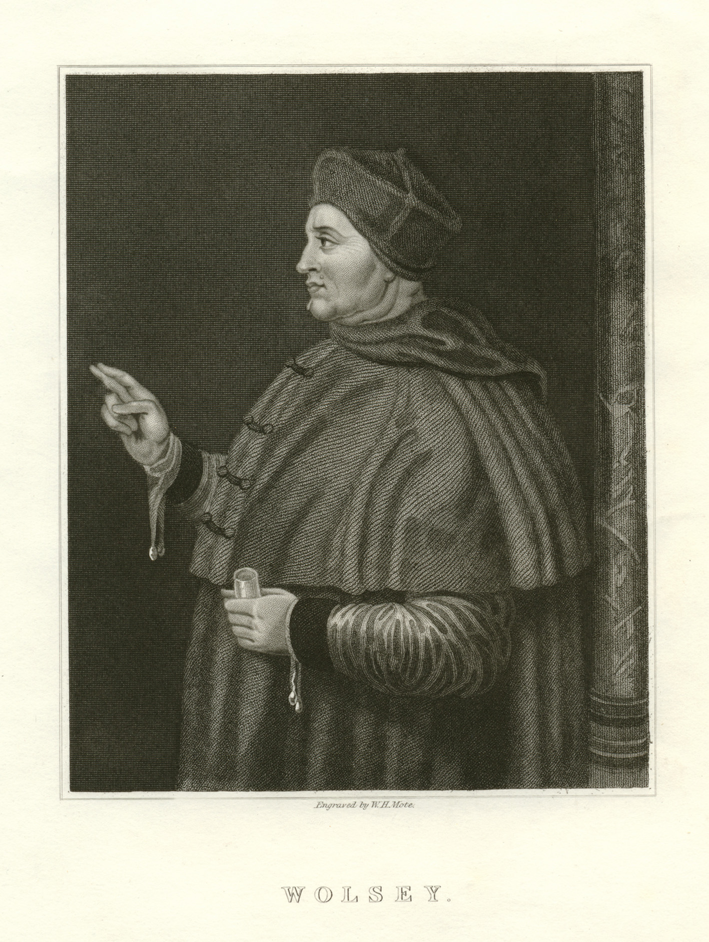 Wolsey. Engraved by W.H. Mote. From a painting by Holbein.