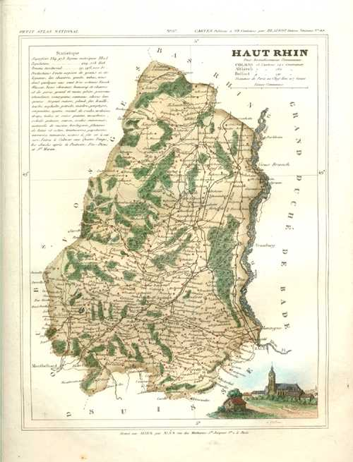 Haut-Rhin Department in Alsace France Antique Map by Monin c1833