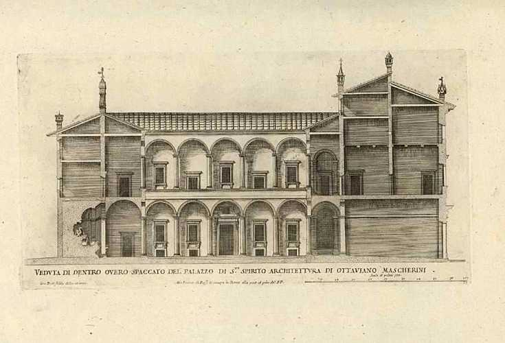 Falda Architectural engraving. Veduta di Dentro Spaccato Antique Print c1650