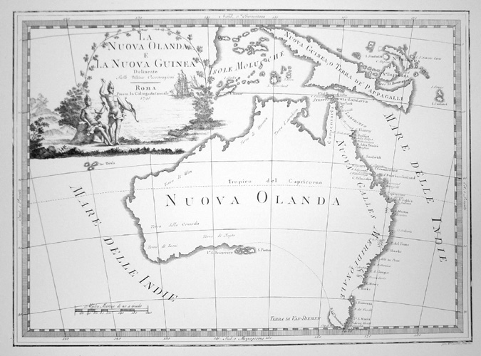 Australia. Italian Map, La Nuova Olanda (New Holland) after Captain Cook.