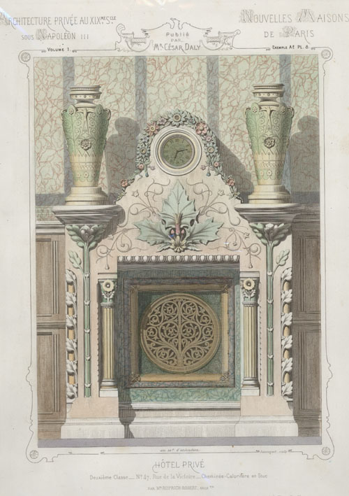 French Private Hotel Fireplace with clock. Cesar Daly c1864