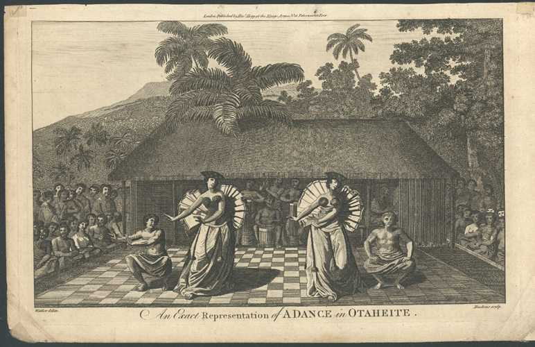 Tahiti. A Dance of Otaheite. Antique Print c1784