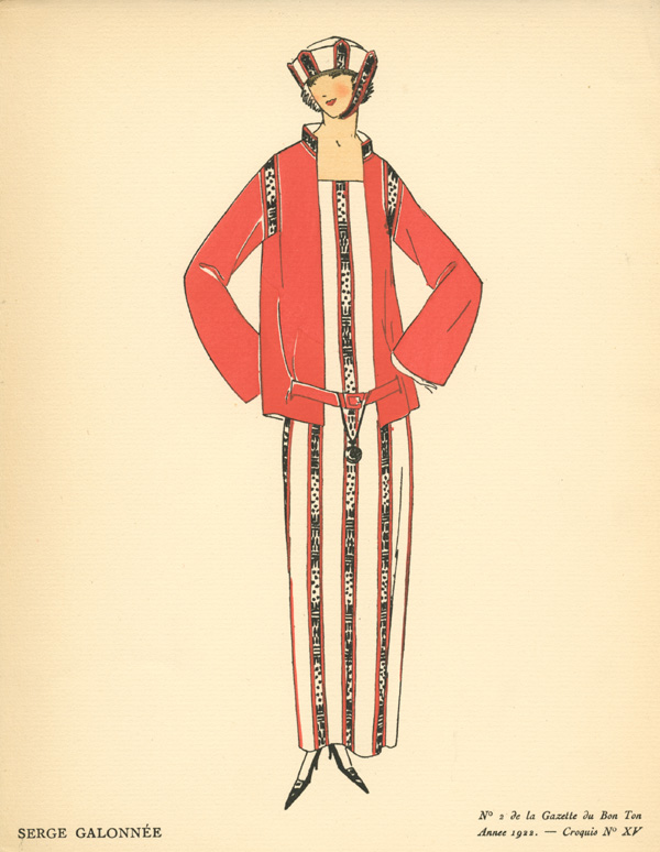 "Striking outfit, ""Serge Galonnée"" Gazette du Bon Ton Sketch 15."