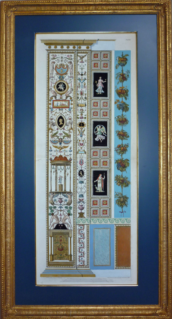 Beautiful framed antique print c1777 of Raphael Loggia fresco.