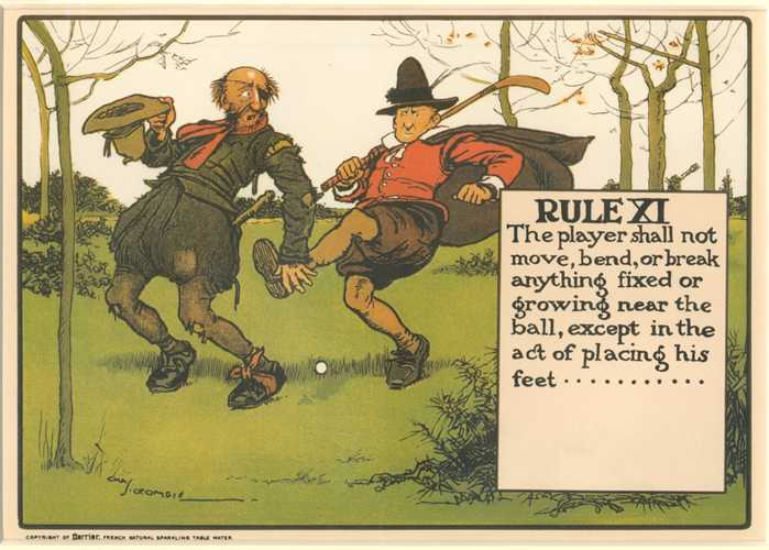 Crombie 11th Golf Rule (removing obstacles). Humorous illustration.