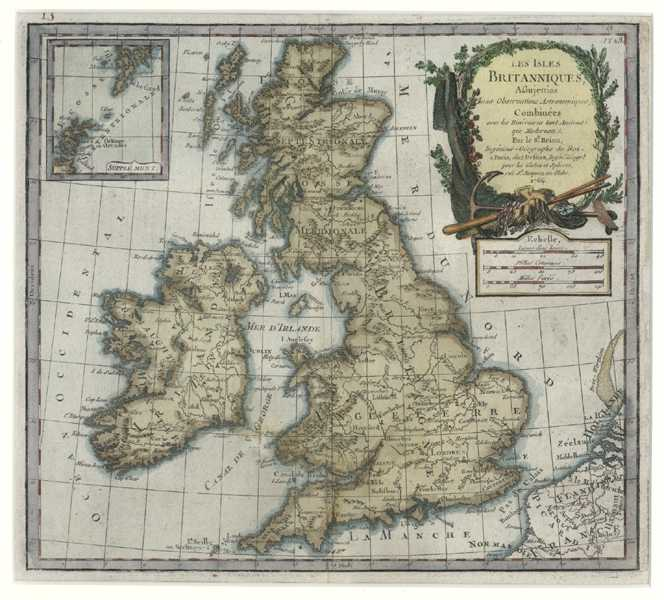 British Isles. Les Isles Britanniques French antique map. Desnos c1766