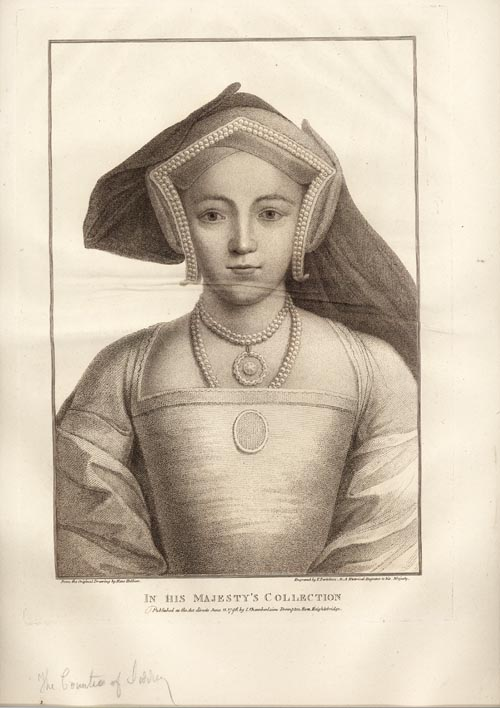 Holbein lady portrait. The Countess of Surrey engraved by Bartolozzi c1796