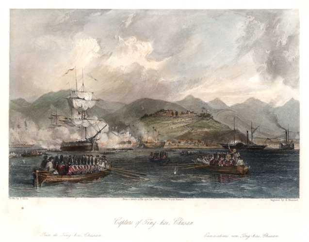 China-Britain Opium War. Capture of Ting-hai, Chusan. Allom c1845