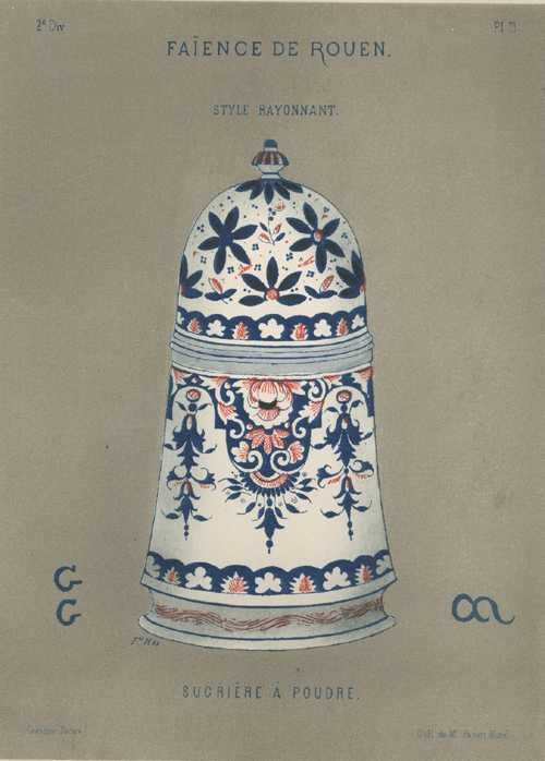 Antique Print of Faience Porcelain Sucriere a Poudre (Powdered Sugar Container) c1870