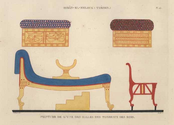 Egypt. Byban-El-Melouk (Thebes) Pharaoh's Tomb painting. Cailliaud c1860