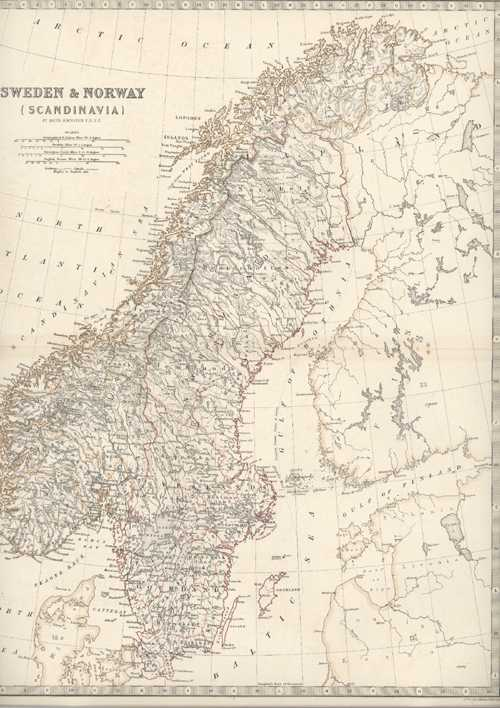 Sweden & Norway (Scandinavia) antique map by Keith Johnston, c1850