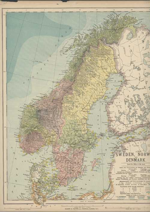 Sweden, Norway and Denmark. Mason & Payne Antique Map c1880.