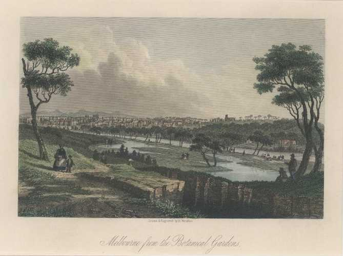 Melbourne from the Botanical Gardens c1856