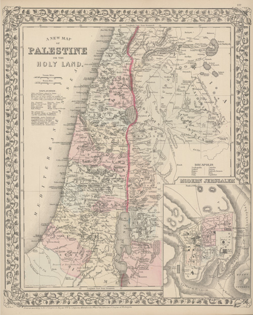 New Map of Palestine or the Holy Land. Augustus Mitchell, c1880.