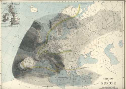 Rainfall Map of Europe. W. & A.K. Johnston antique map c1886