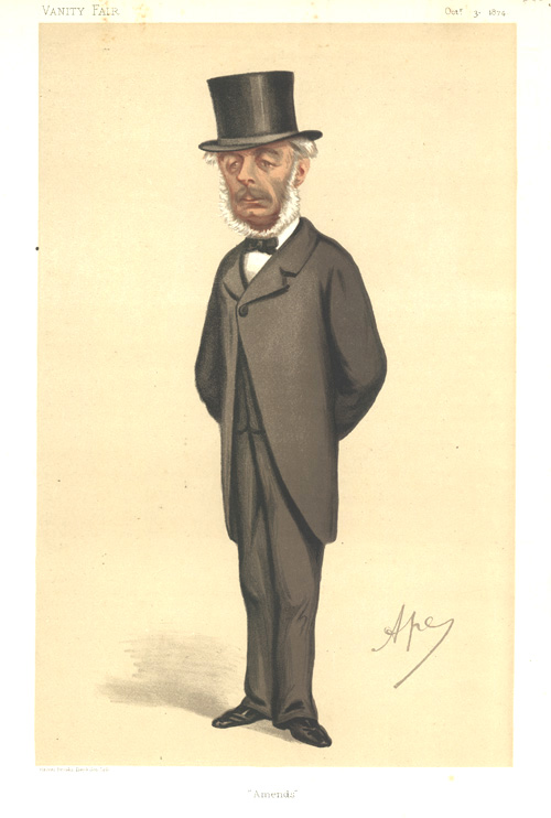 """Amends"" Vanity Fair caricature lithograph of a Statesman c1875."