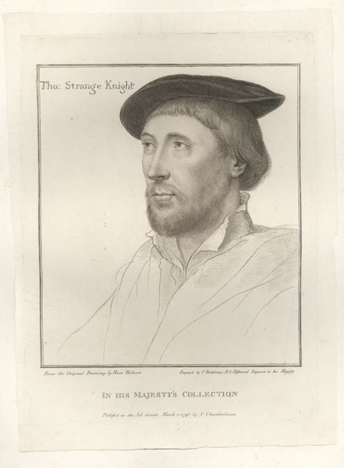 Holbein portrait of Thomas Strange Knight. Bartolozzi engraving c1793