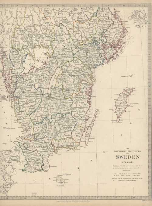 Sweden. Southern Provinces (Sverige). Antique Map. J&C Walker/Chapman & Hall. c1833