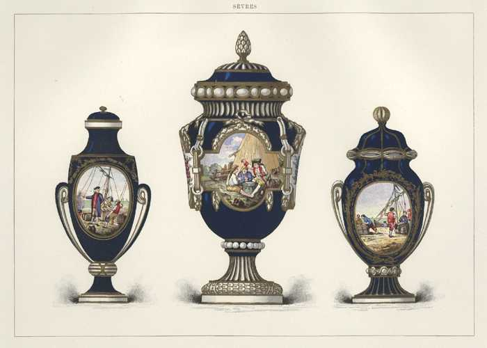 Lithograph of Sevres Porcelain Vases with nautical theme. c1890