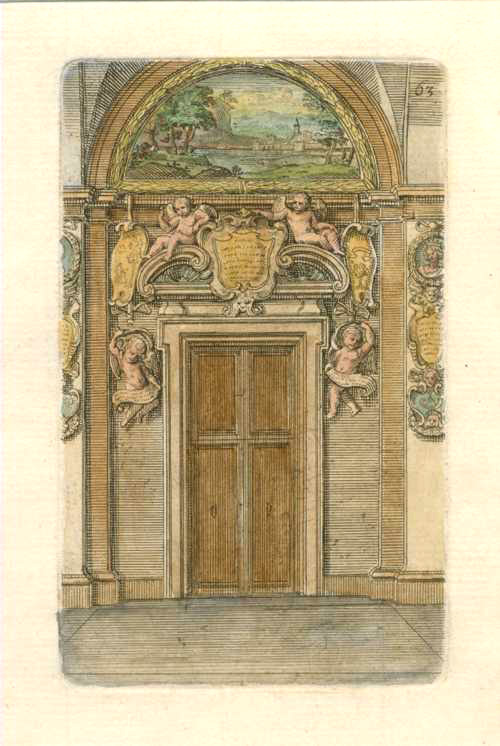 Putti surround the door, with landscape arch above. Barozzi c1764