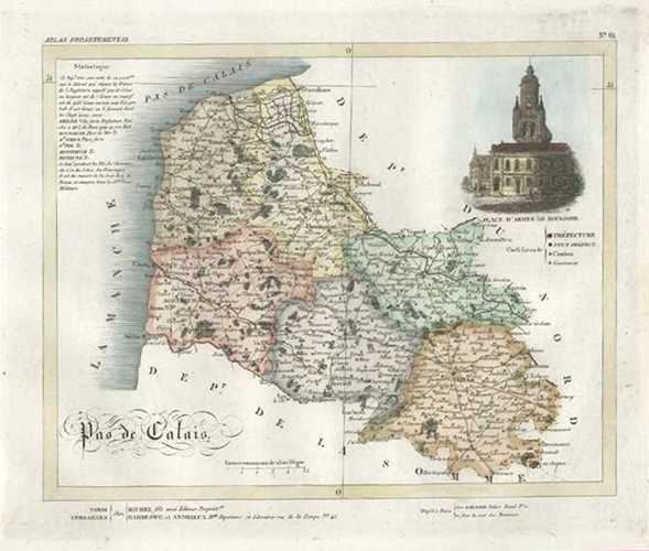 Pas-de-Calais Department in Nord, France Antique Map by Lorrain c1836