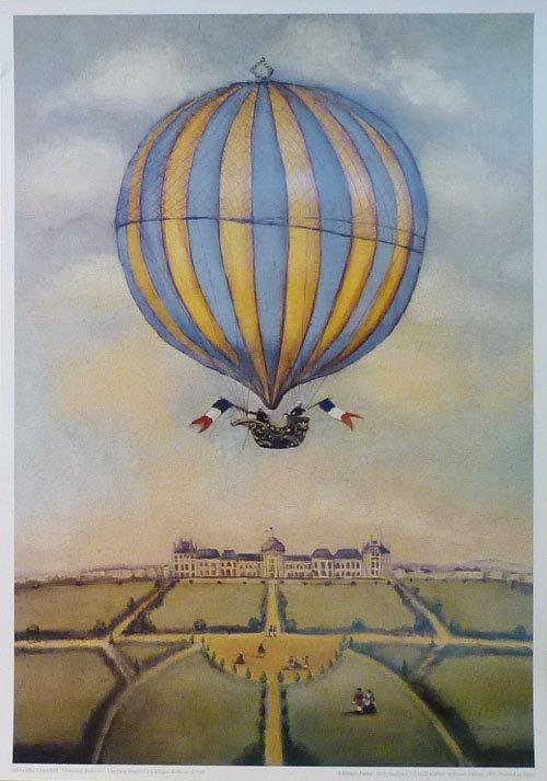 Ballooning. The First Manned Hydrogen Balloon. Churchill print.