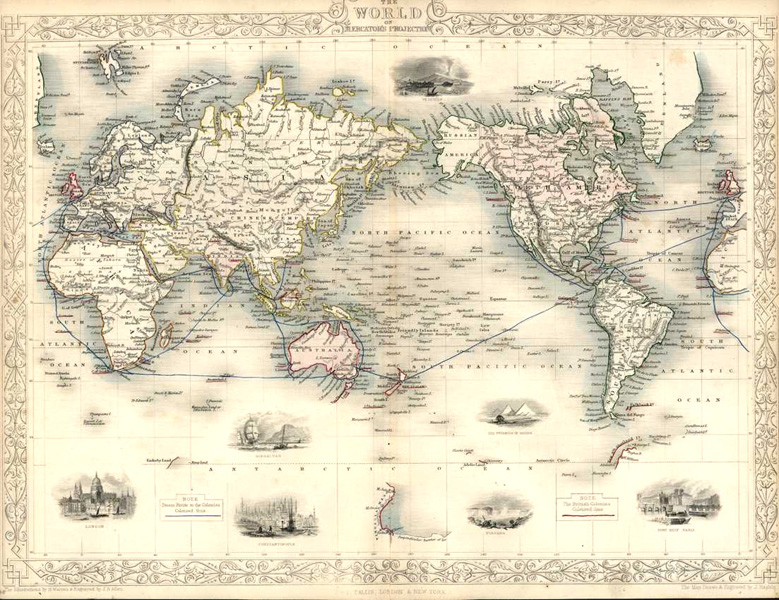 The World on Mercator's Projection. J.&F.Tallis First Edition, c1851.