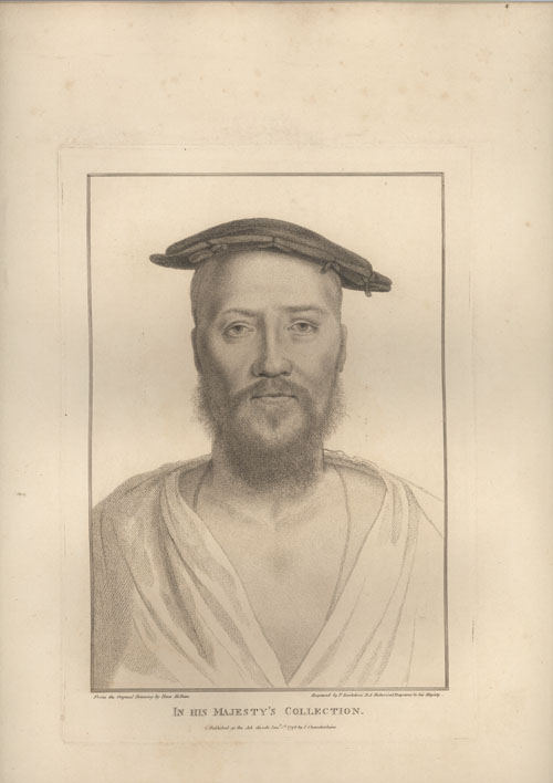 Holbein portrait. Lord Cobham. Engraving by Francesco Bartolozzi c1796