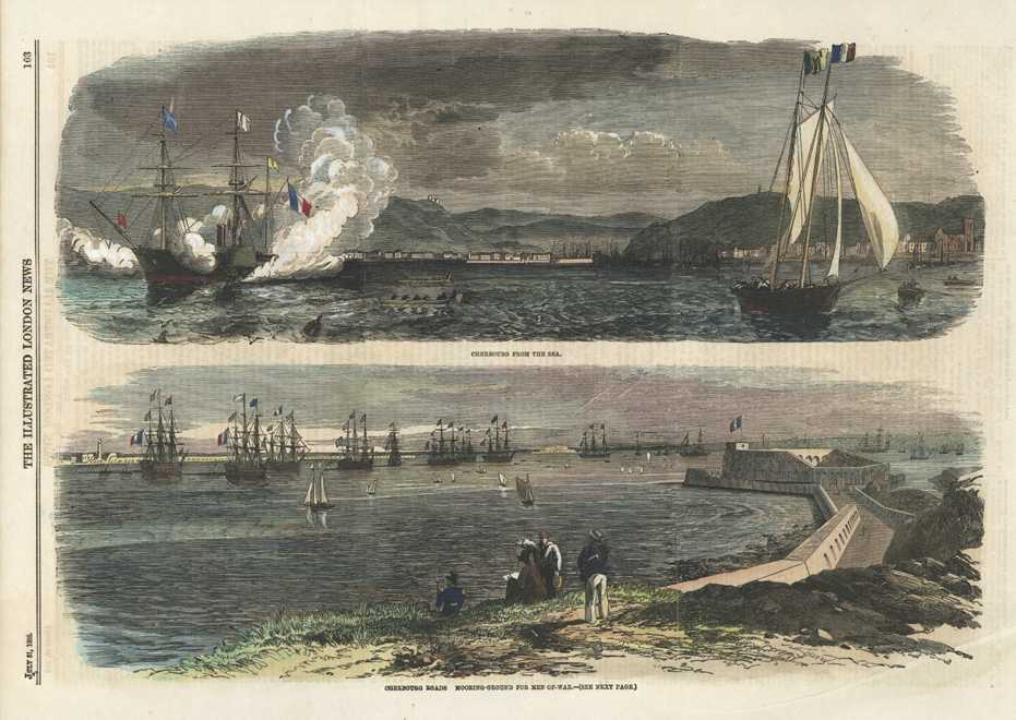 Cherbourg from the Sea & Men-of-War antique print c1858