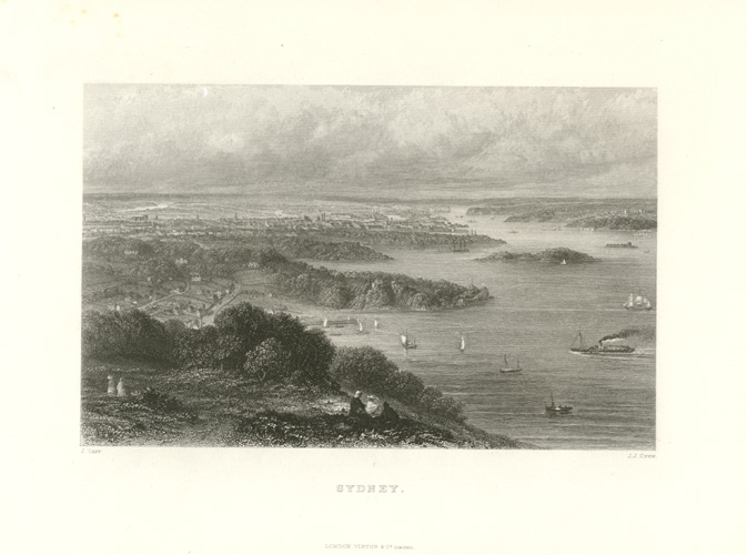 Sydney Harbour engraving for Australia Illustrated c1874.