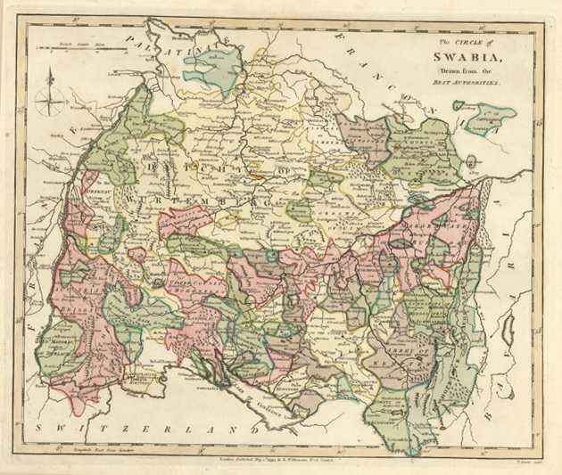 Circle of Swabia (Southern Germany) Antique Map. Wilkinson c1794