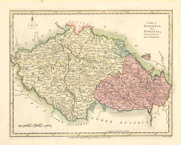 Bohemia & Moravia Antique Map by Wilkinson c1794