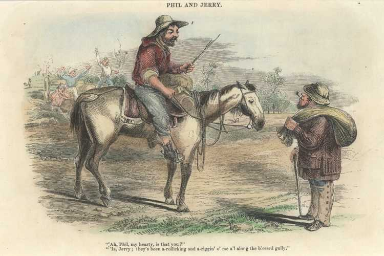 Gold. Phil and Jerry. Gold-Finders in Australia. Engraving c1853.