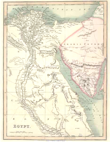Egypt. Beautiful Antique Map by C. Smith circa 1836