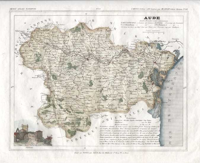 Aude, Languedoc-Roussillon with Carcassonne, France Antique Map. Monin c1833.