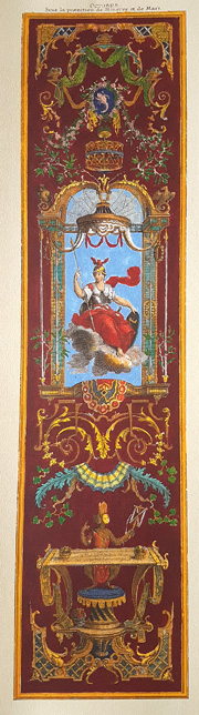 "October ""Octobre"" 18th century classical calendar panel print."