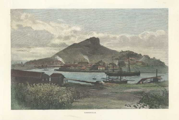 J.R. Ashton view of Townsville. Hand-coloured engraving c1886