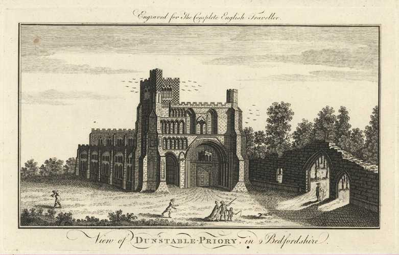 Dunstable Priory, Bedfordshire. Complete English Traveller. Spencer c1773.