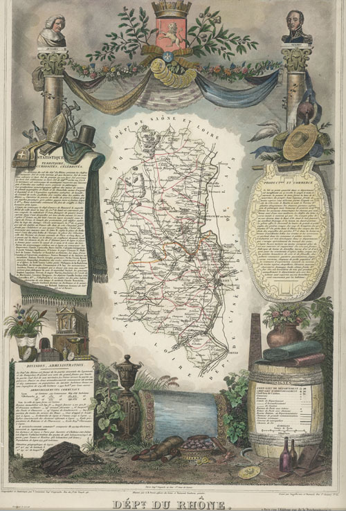 Dept. du Rhone. Region de l'Est, France Levasseur antique map c1854