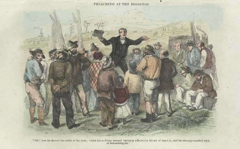 Australian Goldfields antique print. Preaching at the Diggings. Sherer engraving c1853.