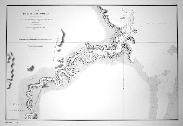 Brisbane River with depth soundings. Heritage Editions John Oxley map (c1823).