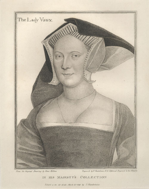 Holbein portrait of Lady Vaux. Bartolozzi engraving c1793.