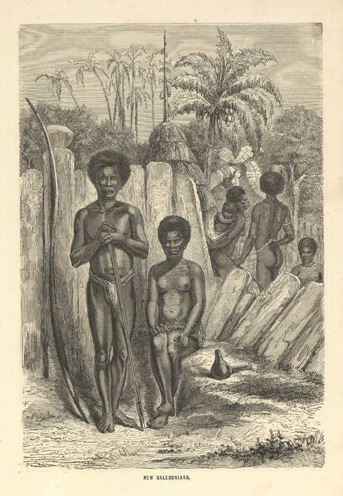 New Caledonians. Lovely engraving of natives & huts. c1886