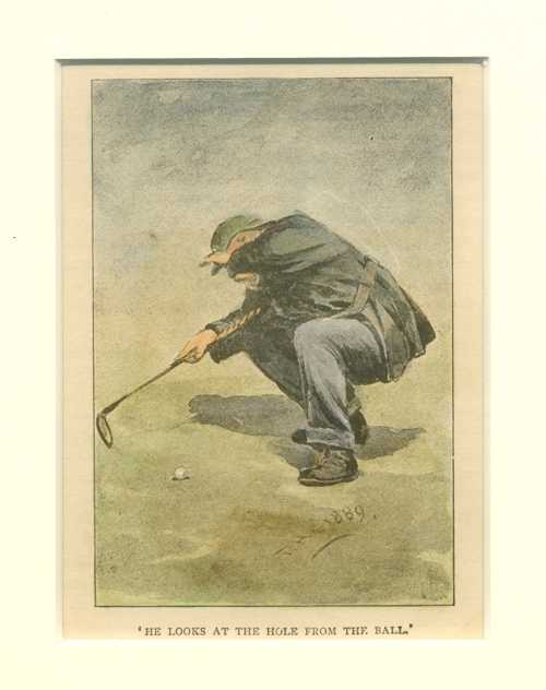He looks at the hole from the ball. c1892