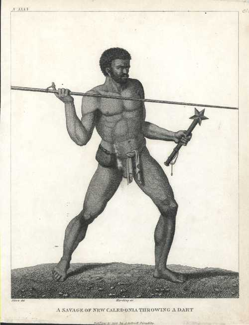 New Caledonia. Savage of New Caledonia throwing a dart. Debrett c1800