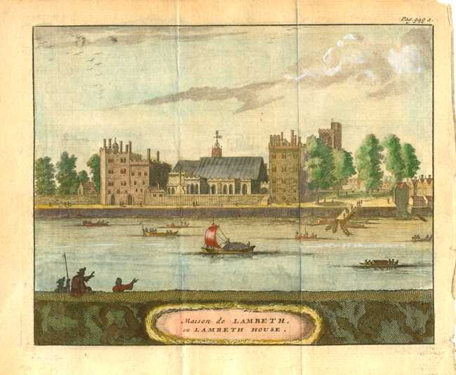 Beeverell antique print of Lambeth House in London c1727