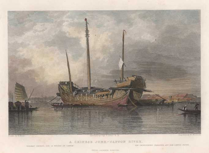 China antique print. A Chinese Junk. Canton River. Samuel Prout c1847