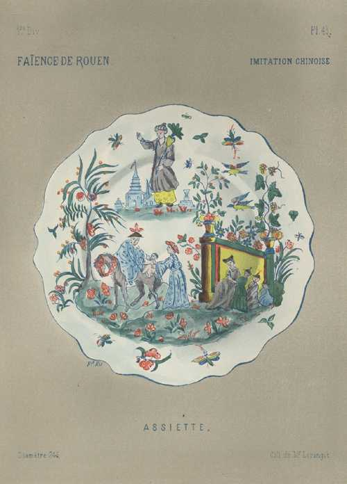 Faience Porcelain, antique print of plate. Chinese decoration. c1870