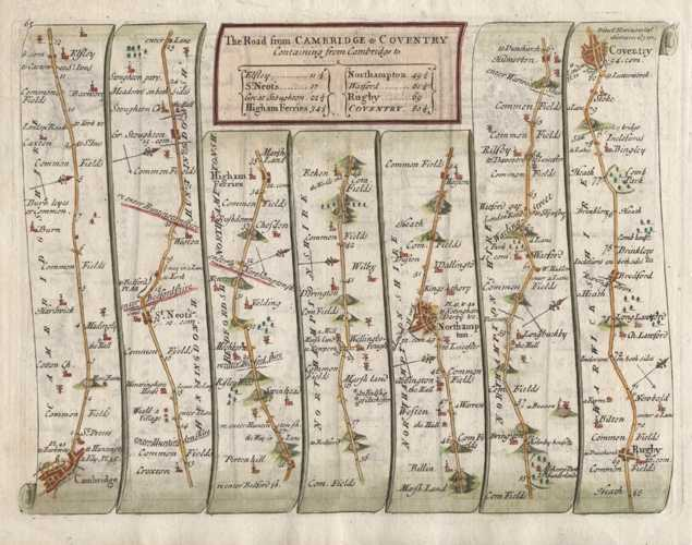 Senex Road Map from Cambridge to Coventry c1757 (after Ogilby)